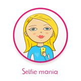 Selfie mania, beautiful girl makes selfie in Royalty Free Stock Photography