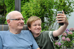 Selfie. With me and grandpa royalty free stock photos