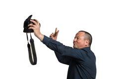 Selfie med den stora kameran Fotografering för Bildbyråer