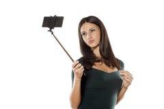 Selfie med monopod Royaltyfri Bild