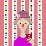 Selfie A menina em um traje do palhaço Fotografia de Stock Royalty Free