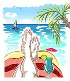 Selfie with Mens Legs and Cocktail on a Ocean Beach. Selfie with Mens Legs, Cocktail, Palm Tree, Yachtsman, Sky with Clouds and Birds on a Beach. Colorful Royalty Free Stock Photos