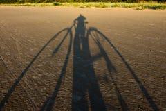 Selfie met fiets, zonsondergang Royalty-vrije Stock Foto
