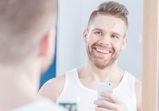 Selfie in mirror Stock Photos