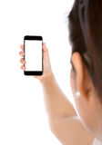 Selfie mit dem intelligenten Mobiltelefon lokalisiert Stockfotos