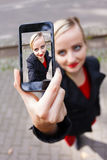 Selfie mit Kamera Stockfoto