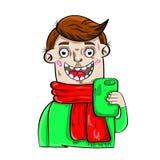 Selfie mobiltelefon royaltyfria bilder