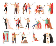 Selfie modern livsstilsamling royaltyfri illustrationer