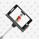 selfie with monopod design Royalty Free Stock Photography
