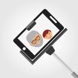 selfie with monopod design Stock Photo