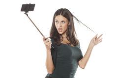 Selfie with monopod Royalty Free Stock Image