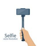 Selfie-monopod Vektor Lizenzfreies Stockfoto