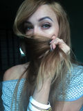 Selfie mooi jong slank meisje Royalty-vrije Stock Afbeeldingen