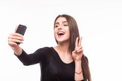 Selfie, Mooie meisje genomen beelden van zelf haar, stock foto's