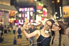 Selfie na noite fotografia de stock