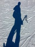 Selfie na sombra da neve no recurso do céu de Grandvalira foto de stock royalty free