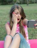 Selfie nel parco Fotografia Stock