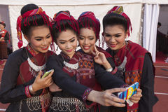 Selfie is new cultural trend Stock Photo