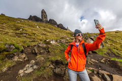 Selfie at Old Man of Storr Royalty Free Stock Photography
