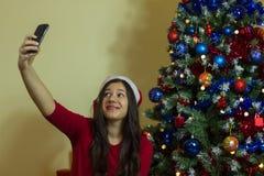 Selfie på jul Arkivfoton