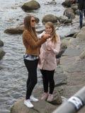 Selfie par la mer à Copenhague Photos libres de droits