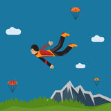 Selfie parachutist flat design illustration. Extreme selfie parachutist flat design illustration Stock Image