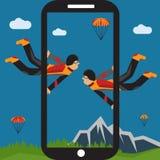 Selfie parachutist flat design illustration. Extreme selfie parachutist flat design illustration Stock Photos