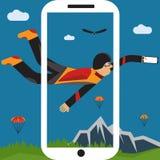 Selfie parachutist flat design illustration. Extreme selfie parachutist flat design illustration Royalty Free Stock Image