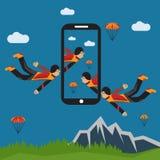 Selfie parachutist flat design illustration. Extreme selfie parachutist flat design illustration Stock Photo