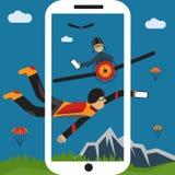 Selfie parachutist and pilot flat design illustration. Extreme selfie parachutist and pilot flat design illustration Stock Photos