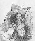 Selfie pasado de un héroe libre illustration