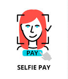 Selfie pay icon, for graphic and web design. Modern flat editable line design vector illustration, selfie pay icon, for graphic and web design Royalty Free Stock Images