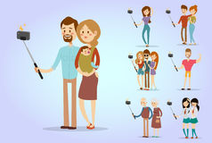 Selfie people vector illustration character photo lifestyle set hipster smart flat camera smartphone person vector illustration