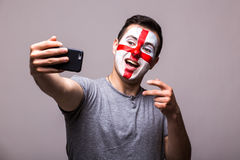 Selfie on phone of Englishman football fans in game supporting of England national teams Stock Photo
