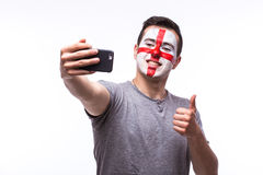 Selfie on phone of Englishman football fans in game supporting of England national teams Royalty Free Stock Photo