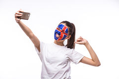 Selfie on phone of Icelander football fan in game supporting of Iceland national teams Stock Photo
