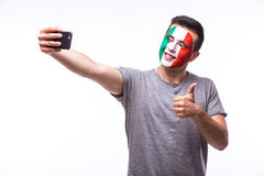 Selfie on phone of Italian football fans in game supporting of Italy national teams Stock Photography