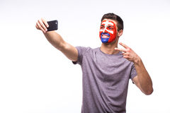 Selfie on phone of Slovak football fans in game supporting of Slovakia national teams Royalty Free Stock Image
