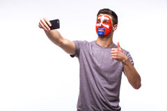 Selfie on phone of Slovak football fans in game supporting of Slovakia national teams Stock Photos