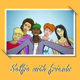 Selfie. Photo with friends taking selfie. Vector illustration. 10 EPS Royalty Free Stock Photo