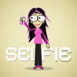 Selfie Photo - Girl or Woman With Cell Phone Royalty Free Stock Image