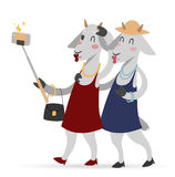 Selfie photo goat girls couple frinds vector Royalty Free Stock Image