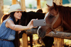 Selfie photo with horse. Happy woman taking selfie photo with horse with smartphone camera royalty free stock photo