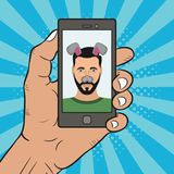 Selfie photo male on smartphone with animal face mask elements - ears and nose. Comics illustration in pop art style. Vector Stock Photography