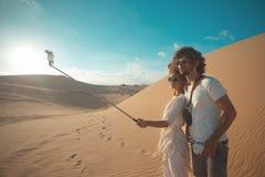 Selfie photo in sandy dunes Royalty Free Stock Image
