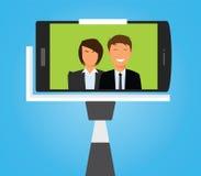 Selfie Photo. Taking Selfie Photo on Smart Phone. vector Royalty Free Stock Photo