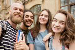 Selfie photo of young college students. Stock Photo