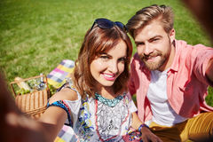 Selfie from picnic on the meadow Stock Photography