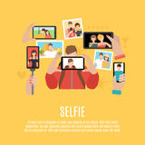 Selfie pictures flat icons composition poster. Selfie pictures taking flat icons composition poster of your own photo  and with friends abstract  vector Royalty Free Stock Images