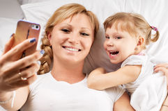 Selfie on pillow Stock Image